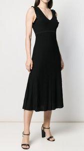 New Michael Kors Black Ruffle Dress In Rayon XL